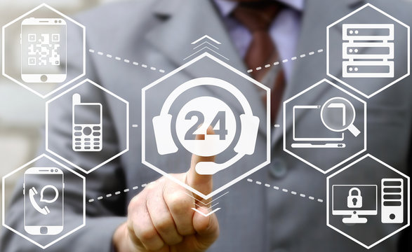 businessman presses 24/7 headset technical support icon. Technician telephone service business sign. Help repair 24 hours a day concept. Communication, network, technology, maintenance, devices.