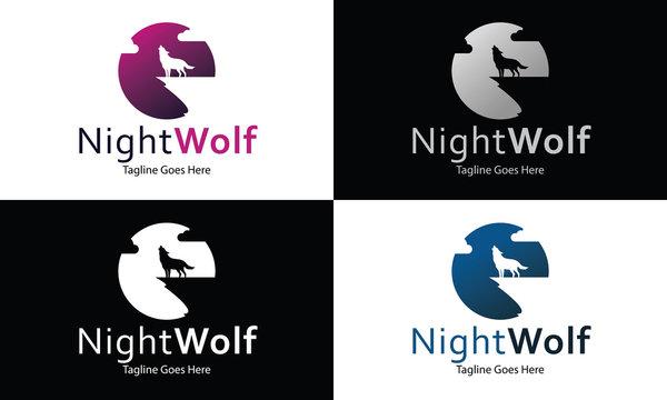 Night Wolf logo design template ,Vector illustration
