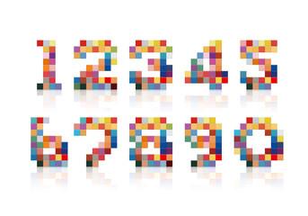 数字 カラフルなタイル 立体