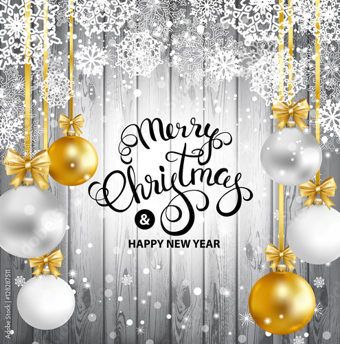 Merry Christmas and Happy New Year greeting card with gold, white ...