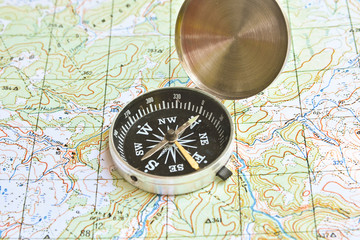 Symbols of travel - map with compass.