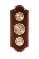 Vintage wooden wall barometer on a white background