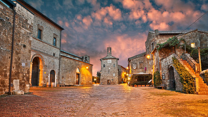 Sovana, Grosseto, Tuscany, Italy: old town t dawn Wall mural