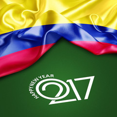 Happy New year 2017 green background abstract Colombia flag. 3d illustration