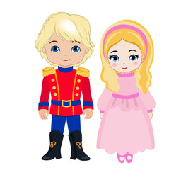 Illustration of very cute boy and girl. Vector illustration isolated on white background.