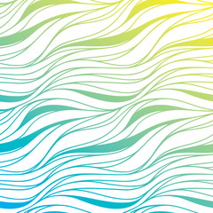 Vector color hand-drawing wave sea background. Blue abstract sea