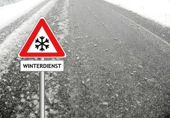 Schnee Warnung Schild