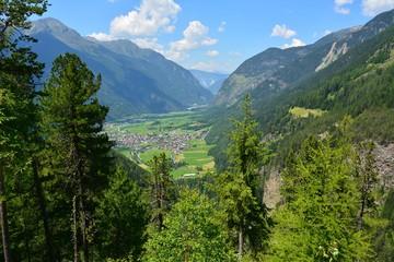 View over Umhausen and Otztal valley in Tirol, Austria.
