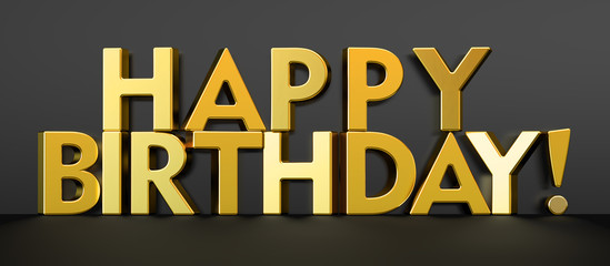 Happy Birthday concept, golden inscription. 3D rendering