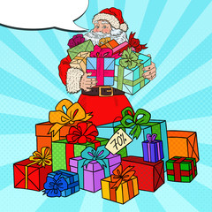 Pop Art Santa Claus with Christmas Gifts on Christmas Sale. Vector illustration