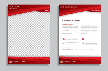 Flyer design template - brochure with red geometric background, front and back page