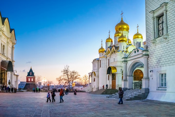 Cathedral Square and Cathedral of the Annunciation in the Moscow Kremlin on sunset in winter