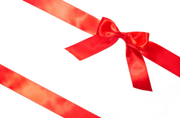 Red bow and diagonal ribbons with tails