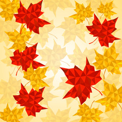Maple leaves in triangular style. Vector illustration