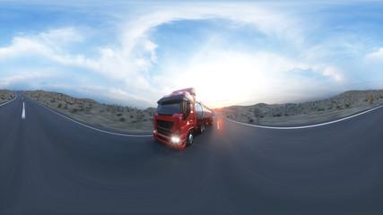 Gasoline tanker, Oil trailer, truck on highway. Very fast driving. 3d rendering. 360 spherical panoramic