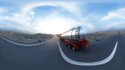 Gasoline tanker, Oil trailer, truck on highway. Very fast driving. 3d rendering. 360 spherical panoramic