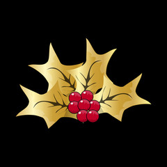 Christmas Mistletoe Icon Symbol Design. Vector Christmas illustration isolated on black background. Cartoon vector gold and red holly berry decorative xmas ornament.