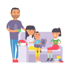 Family on couch vector.