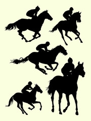 Horse riding, jockey silhouette. Good use for symbol, logo, mascot, sign, or any design you want.