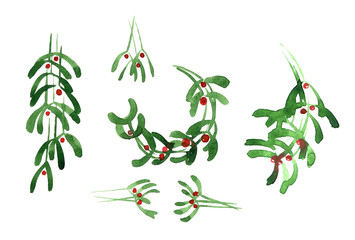 Mistletoe, Christmas, watercolor sketch design elements isolated on white background