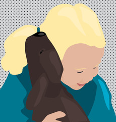 Young child or girl with blonde hair hugging small brown puppy