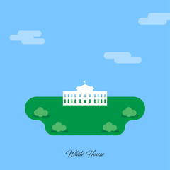 White House Monument abstract Monument silhouette on Blue Night background with stars and clouds. Landmarks vector collection.