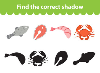 Children s educational game, find correct shadow silhouette. Seafood set the game to find the right shade. Vector illustration