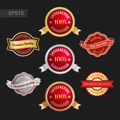 Set of satisfaction guarantee and premium quality emblem or badge