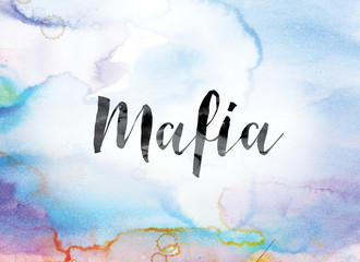 Mafia Colorful Watercolor and Ink Word Art