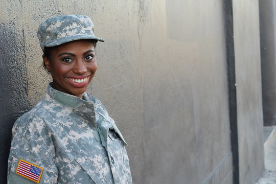 Veteran Female African American Soldier Smiling
