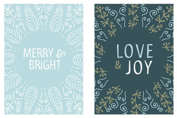 Christmas Card round design. Merry and Bright. Love and Joy. Hand drawn vector illustration.