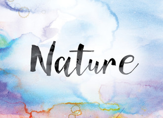 Nature Colorful Watercolor and Ink Word Art