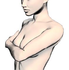 Breast Exam Flesh Tone Sketch Style 1