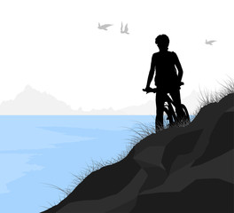 Lake and cycling vector silhouette people nature landscape background