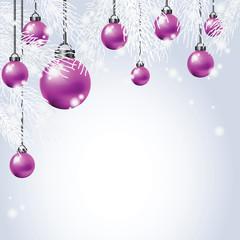 Hanging Colorful Christmas Ball with fir.