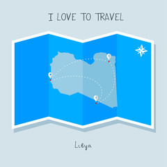 A blue shade Map with map pin of the Libya . Sketch Country map for infographics, brochures and presentations. vector sky blue map illustration