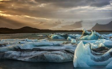 Sunset at Jokulsarlon Iceberg Lagoon in Iceland