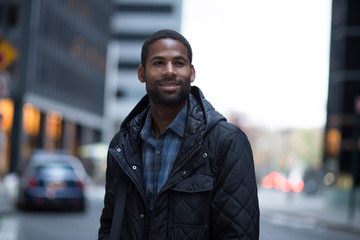Portrait of young African American professional in the city