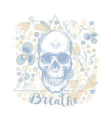 Skull with floral ornament.Halloween.Seamless floral pattern with booming flowers. Vector illustration