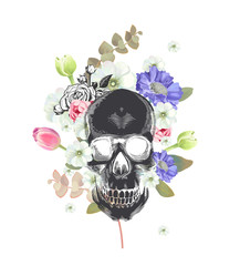 Skull. Mexican Day of the Death. Flowers and plants on a painting background. Could be used for T-shirt print, cards, banners. Vector illustration