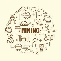 mining minimal thin line icons set