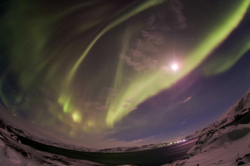 Northern Lights on the Kola Peninsula. Teriberka, Murmansk regio