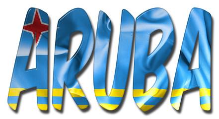 Aruba Word With Flag Texture
