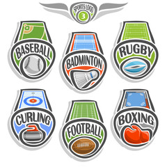 Vector set sports logo with ball, baseball field, badminton shuttlecock, rugby stadium, curling ice rink, american football, glove boxing on ring, abstract sign sporting club, balls isolated on white.