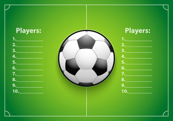 Poster Template with Football Ball on grass field. Cup and Tournament Statistics. Sport Event Announcement. Vector Illustration.