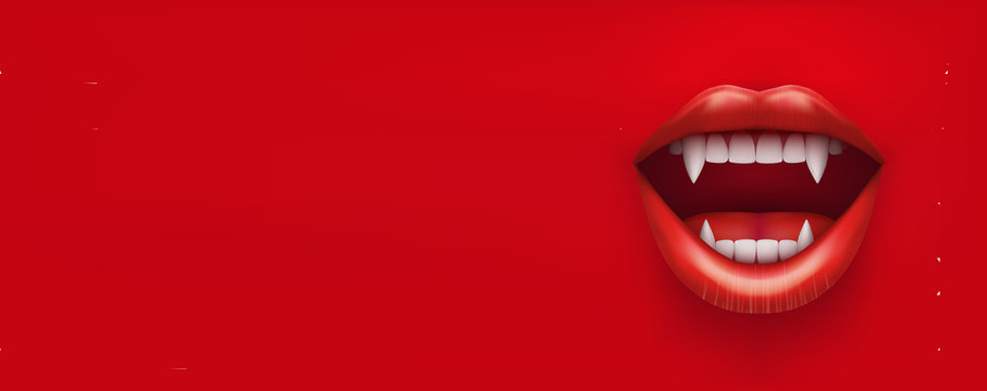 Party Invitation with vampire mouth open red lips and long teeth. Horizontal banner. Vector Illustration.