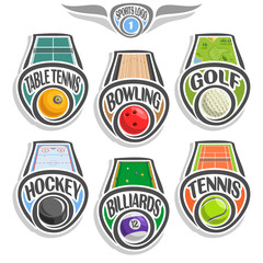 Vector set sports logo with ball, table tennis, bowling alley, golf course lawn, hockey puck on ice rink, billiards pool, tennis ground court, abstract sign sporting club, line balls isolated on white