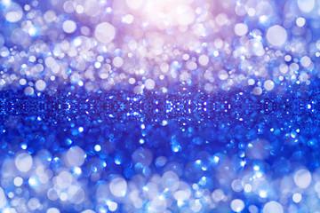 Blue Glitter bokeh Background.