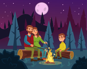 Family picnic by fire at night. Father character tells stories mother and son. Vector flat cartoon illustration