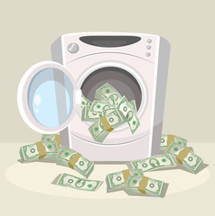 Laundering of money in washer. Vector flat cartoon illustration